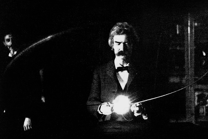 mark twain in nikola teslas lab